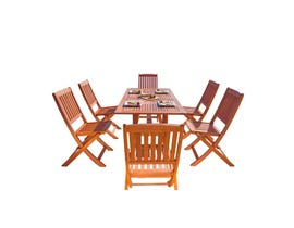 VIFAH Malibu Outdoor 7-piece Wood Patio Dining Set with Curvy Leg Table & Folding Chairs V189SET7