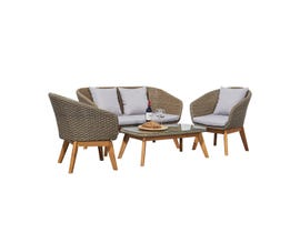 VIFAH Grayton 4-Piece Rustic All-Weather Patio Wood and Wicker Set in Light Grey V1910