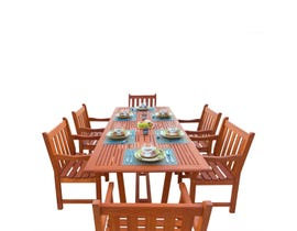 VIFAH Malibu Outdoor 7-piece Wood Patio Dining Set with Extension Table V232SET1