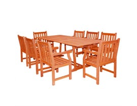 VIFAH Malibu Outdoor 9-piece Wood Patio Dining Set with Extension Table V232SET20
