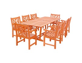 VIFAH Malibu Outdoor 9-piece Wood Patio Dining Set with Extension Table V232SET32