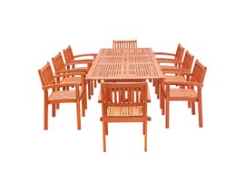 VIFAH Malibu Outdoor 9-piece Wood Patio Dining Set with Extension Table & Stacking Chairs V232SET33