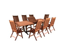VIFAH Malibu Outdoor 9-piece Wood Patio Dining Set with Extension Table & Reclining Chairs V232SET4