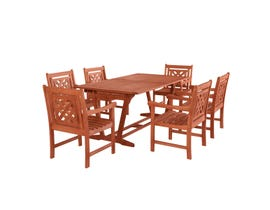 VIFAH Malibu Outdoor 7-piece Wood Patio Extendable Table Dining Set V232SET45