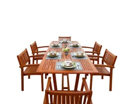 VIFAH Malibu Outdoor 7-piece Wood Patio Dining Set with Extension Table & Stacking Chairs V232SET5