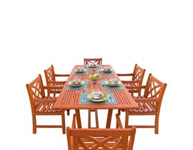 VIFAH Malibu Outdoor 7-piece Wood Patio Dining Set with Extension Table V232SET7