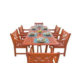 VIFAH Malibu Outdoor 7-piece Wood Patio Dining Set with Extension Table V232SET8