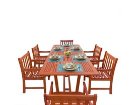 VIFAH Malibu Outdoor 7-piece Wood Patio Dining Set with Extension Table V232SET9