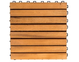 VIFAH Outdoor Patio 8-Slat Acacia Interlocking Deck Tile (Set of 10 Tiles) V355