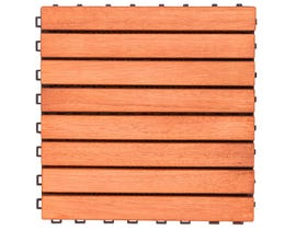 VIFAH Outdoor Patio 8-Slat Eucalyptus Interlocking Deck Tile (Set of 10 Tiles) V375