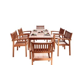 VIFAH Malibu Outdoor Patio 7-piece Wood Dining Set with Stacking Chairs V98SET10