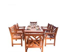 VIFAH Malibu Outdoor 7-piece Wood Patio Dining Set V98SET11