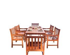 VIFAH Malibu Outdoor 7-piece Wood Patio Dining Set V98SET12