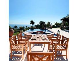 VIFAH Malibu Outdoor Patio 7-piece Wood Dining Set V98SET13