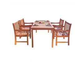 VIFAH Malibu Outdoor 5-piece Wood Patio Dining Set V98SET15