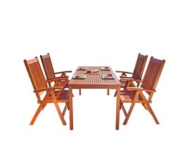 VIFAH Malibu Outdoor Patio 5-piece Wood Dining Set with Reclining Chairs V98SET20