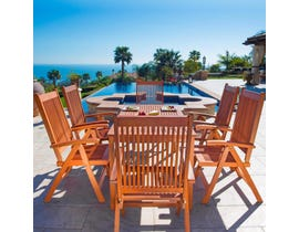 VIFAH Malibu Outdoor Patio 7-piece Wood Dining Set with Reclining Chairs V98SET21