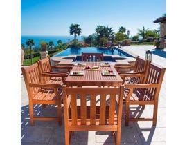 VIFAH Malibu Outdoor Patio 7-piece Wood Dining Set V98SET26