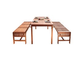 VIFAH Malibu Outdoor 3-piece Wood Patio Dining Set with Backless Bench V98SET5