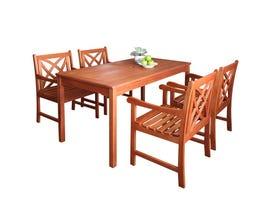 VIFAH Malibu Outdoor Patio 5-piece Wood Dining Set V98SET6