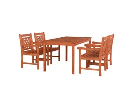 VIFAH Malibu Outdoor 5-piece Wood Patio Rectangular Table Dining Set V98SET71