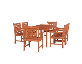 VIFAH Malibu Outdoor 7-piece Wood Patio Rectangular Table Dining Set V98SET72