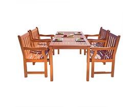 VIFAH Malibu Outdoor Patio 5-piece Wood Dining Set V98SET8