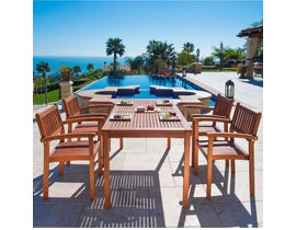 VIFAH Malibu Outdoor Patio 5-piece Wood Dining Set with Stacking Chairs V98SET9