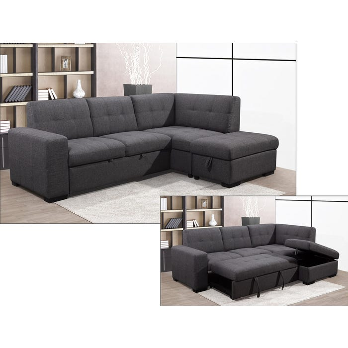 Primo International Vincente Collection 3-Piece Fabric Sectional in Ash 3848