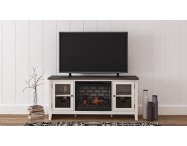 Ashley Dorrinson 60 inch TV Stand with Fireplace in Grey and Antique White W287-68