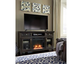 Signature Design by Ashley 62 TV Stand with Fireplace Grayish Brown finish W636W2