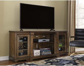 Signature Design by Ashley Flynnter Series 75 inch Stand w/ Fireplace Option in Medium Brown W719-68