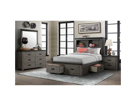 High Society Wade Series 6pc Double Storage Bedroom Set in Grey WE600
