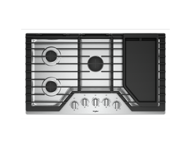 "Whirlpool 36"" Gas Cooktop with Griddle in Stainless Steel WCG97US6HS"