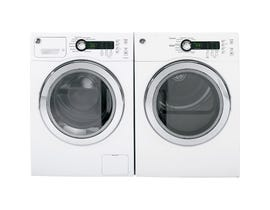 GE Laundry Pair 2.6 cu.ft. Compact Washer WCVH4800KWW & 4 cu. ft. Compact Electric Dryer in White PCVH480EKWW