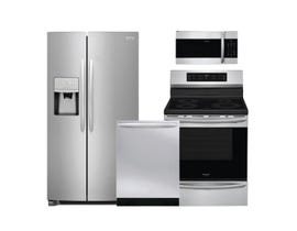 Frigidaire 4pc Fridge Dishwasher Range and Microwave Kitchen Combo in Stainless Steel 108653/89137/108084/108079