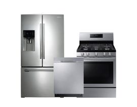 Samsung 3pc Fridge Dishwasher Range Combo in Stainless Steel
