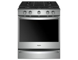 "Whirlpool 30"" Self-Clean True Convection 5-Burner Slide-In Gas Range in Stainless Steel WEG750H0HZ"