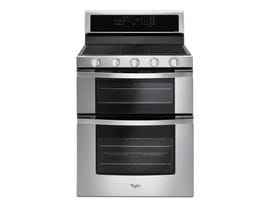 Whirlpool 30 inch 6.0 cu.ft. Gas Double Oven Range with Center Oval Burner in stainless steel WGG745S0FS