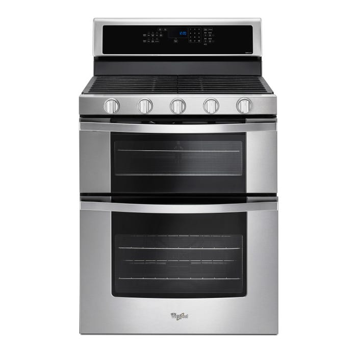 Whirlpool 30 Inch 60 Cuft Gas Double Oven Range With Center Oval Burner In Stainless Steel Wgg745s0fs