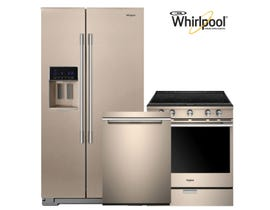 WHIRLPOOL SIDE BY SIDE REFRIGERATOR AND TRUE CONVECTION ELECTRIC RANGE KITCHEN APPLIANCES COMBO SUNSET BRONZE 113656/112987/112986