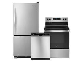 Whirlpool 3pc Appliance Package in Stainless Steel WRB119WFBM WDF330PAHS YWFE515S0JS