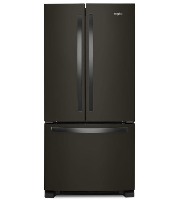 Whirlpool 33 inch 22.1 Cu. Ft. French Door Refrigerator in black stainless steel WRF532SNHV