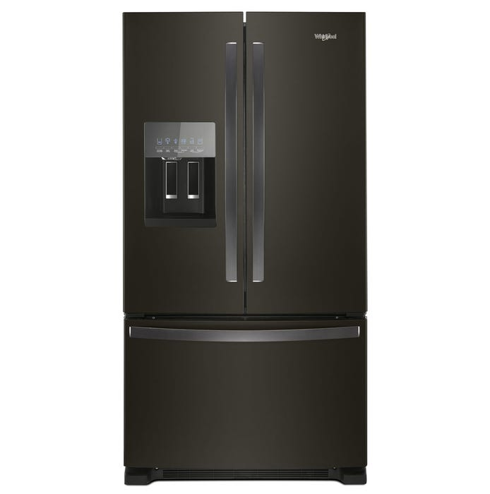 Whirlpool 36 inch Wide 25 cu.ft. French Door Refrigerator in Black Stainless Steel WRF555SDHV