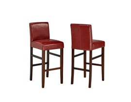 "Brassex 24"" faux leather counter stool (set of 2) in red WS5411-24"