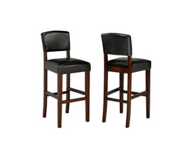 "Brassex 29"" faux leather bar stool (set of 2) in espresso WS5422"