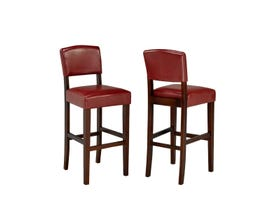 "Brassex 29"" faux leather bar stool (set of 2) in red WS5422"