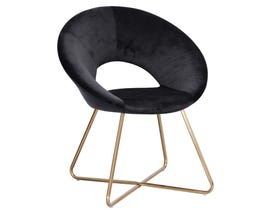 K Living Lydia Accent Chair in Black Velvet with Gold Powder Coated WY-439D-BK