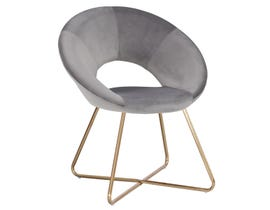 K Living Lydia Accent Chair in Grey Velvet with Gold Powder Coated Frame WY-439D-GR