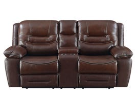 High Society Westchester Collection Leather Power Reclining Loveseat in Chocolate UWC1312-R-L